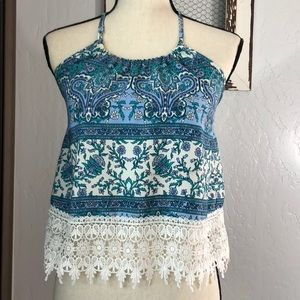 Floral Halter top with beautiful lace detailing